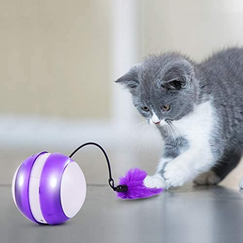 Smart Cat Toys Interactive, Automatic Cat Toy Ball Interactive Cat Toys for Indoor Cats, Best Electronic Feather Cat Toys Ball with Light for Cats, Cats Exercise/Companion Toy Ball by Tiitc 3