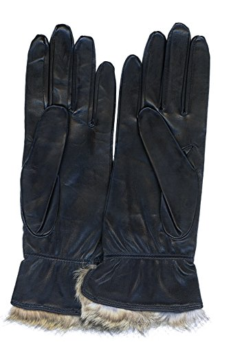 GRANDOE Women's THYME Premium 100% Sheepskin Leather Glove, Fur Lined Gauntlet (Black, Large)