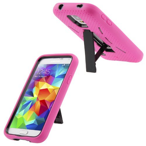 Topratesell Samsung Galaxy S5 Samsung SM-G900R4 Case - Kickstand Hybrid Silicone Rubber Gel Hard Plastic Cover Case Stand