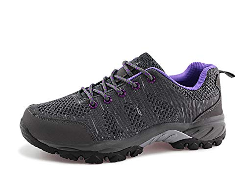 Jabasic Women Hiking Shoes Breathable Mesh Athletic Outdoor Sneakers (Grey/Purple,9.5) (Best Hiking Shoes For Flat Feet)