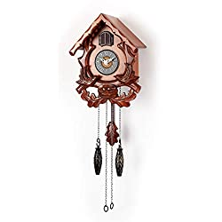 Polaris Clocks Cuckoo Wall Clock with Night Mode, Singing Bird and Carved Wood Decorations (Cherry)