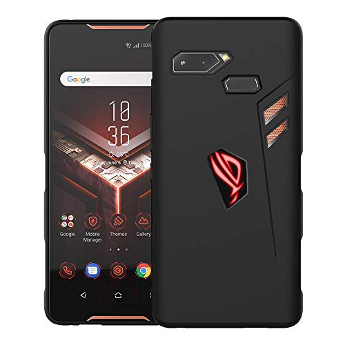 Orzero TPU Case for ASUS ROG Phone (Not fit for Rog Phone 2 2019) Soft Slim with RGB Logo Cutout (with Air Trigger Cutout) Full Protection (Lifetime Replacement)-Matte Black