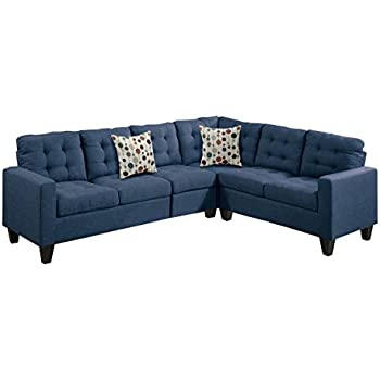 Poundex F6938 Bobkona Burril Linen-Like 4 Piece Left or Right Hand Reversible Sectional Set, Navy