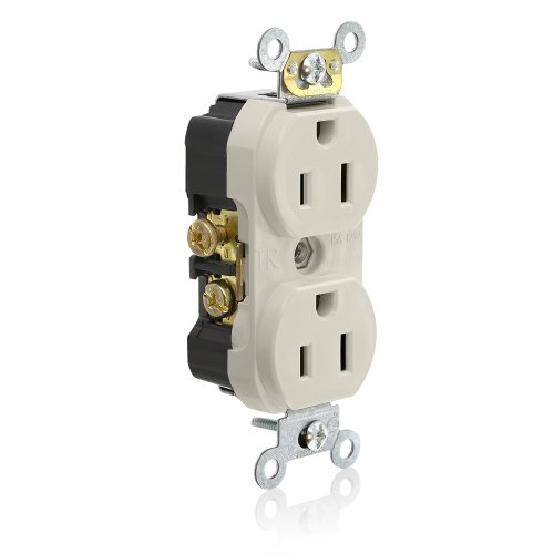 Commercial Tamper (Leviton TCR15-T Side Wired Commercial Spec Grade Tamper Resistant Duplex Receptacle, 15-Amp, 125-volt, Light Almond)