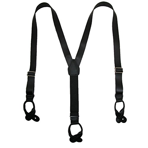 Leather Button-End 1 Inch Suspenders