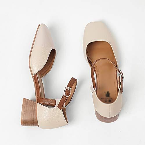 Chunky 1 Femme À Toe Taille Lacets Retro 37 Yxx Femmes couleur Oxfords Printemps D'été Chaussures Slip 1 qqFABa