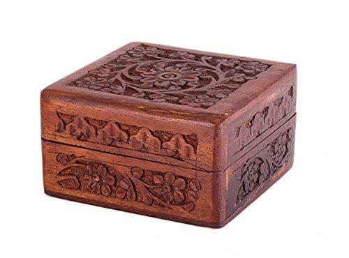 IndiaBigShop Handmade Wooden Keepsake Jewelry Box Trinket Jewelry Organizer Box with Detailed Flower Carving Design 5 Inch -
