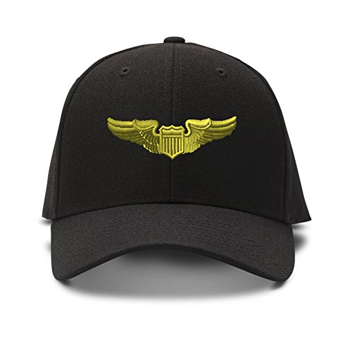 Pilot Gold Embroidered Unisex Adult Hook & Loop Acrylic Adjustable Structured Baseball Hat Cap - Black, One Size