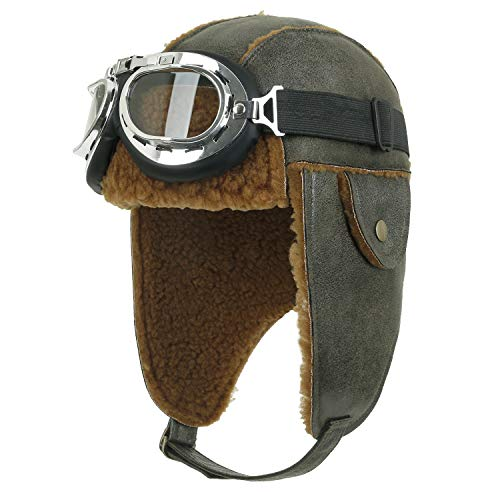 ililily Aviator Hat Winter Snowboard Fur Ear Flaps Trooper Trapper Pilot Goggles, Olive Green/Brown