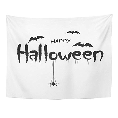 Tapestry Black Happy Halloween Post Bats Spiders and Scary Text Calligraphy Home Decor Wall Hanging for Living Room Bedroom Dorm 60x80 inches -