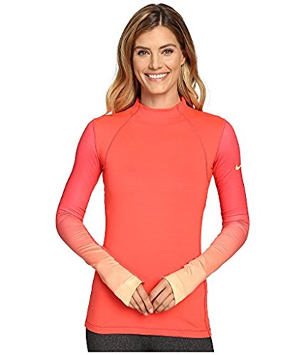 Nike Pro Womens Hyperwarm Long Sleeve Fade Training Top Womens Medium, Coral Peach