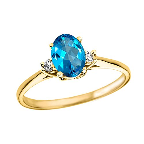 (Fine 14k Yellow Gold Diamond with Genuine Blue Topaz Engagement/Promise Ring (Size 4.5))