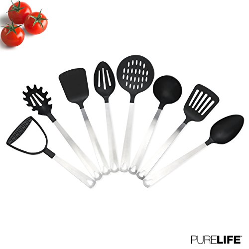 Kitchen Utensil Set 8 Pcs by PureLife - Stainless Steel Cooking Set W/Nylon Heat Resistant | Include Spatula, Spaghetti Server, Potato Masher, Serving Spoon, Turner, Ladle, Skimmer & Slotted Spoon