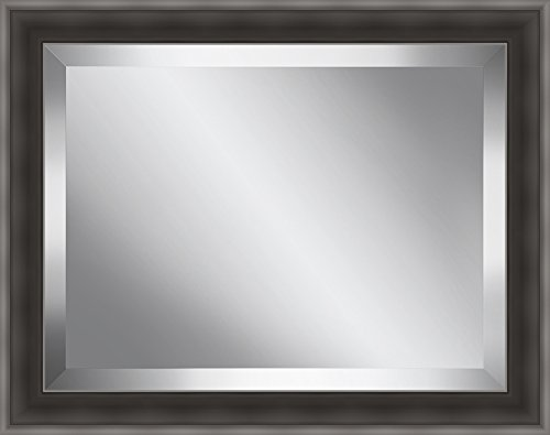 Ashton Art & Décor Brushed Silver Grey Framed Beveled Plate Glass Mirror, 36 by - Wall Plate Dcor