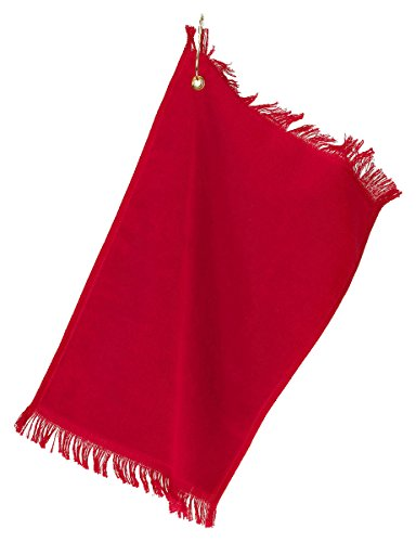 (Towels Plus By Anvil Fringed Fingertip Towel With Corner Grommet And Hook (Red) (ONE))