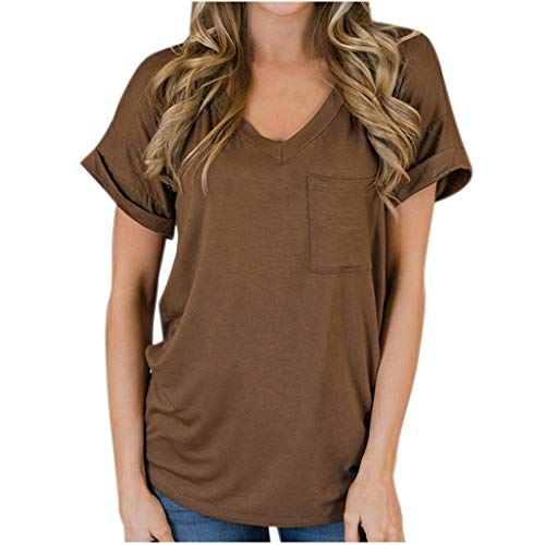 - Opinionated Womens Summer Casual T Shirts Short Sleeve Casual V Neck Tunics Tee Top Solid Color with Pocket Top T-Shirt