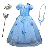 Cosplay Cinderella Party Girls Costume Dress for Toddlers with Tiara Necklaces and Wand Blue