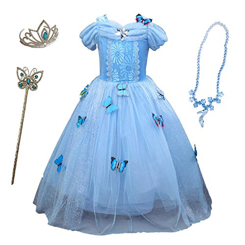 Familycrazy Cosplay Cinderella Butterfly Party Girls Costume Dress for Toddlers with Tiara Necklaces and Wand Blue ()