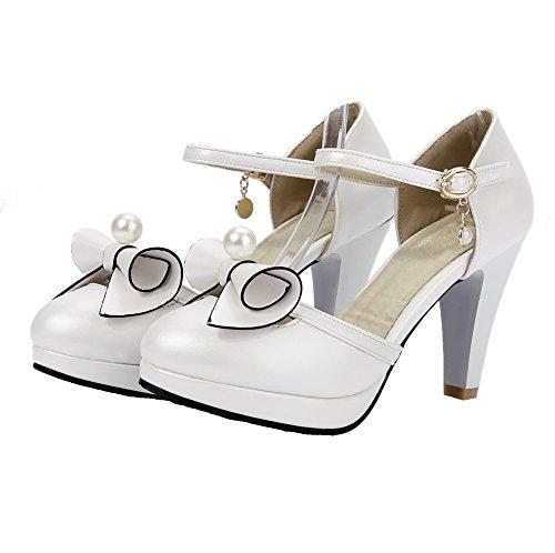 VogueZone009 Damen PU Ziehen auf Rund Zehe Hoher Absatz Rein Pumps Schuhe Weiß