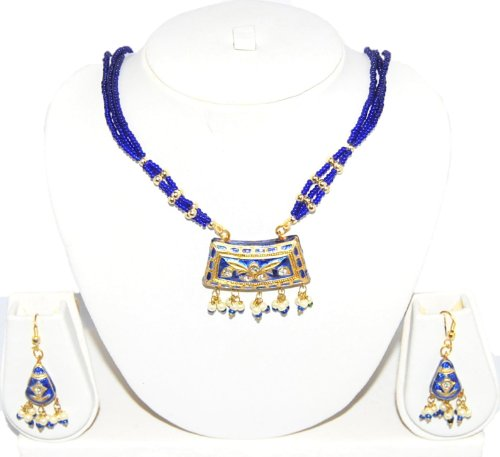 Authentic Designer Indian Lac / Rajasthani Style Costume Jewelry Set for Women / AZINLC033-DBL - Designer Costume Jewellery Mumbai