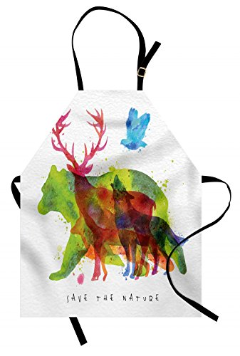 Ambesonne Animal Apron, Alaska Wild Animals Bears Wolfs Eagles Deers in Abstract Colored Shadow Like Print, Unisex Kitchen Bib Apron with Adjustable Neck for Cooking Baking Gardening, Gray Green