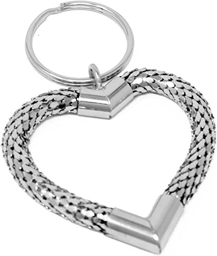 Heart Purse Valet - Vintage Silver Large Heart Metal Mesh Jewelry Keychain