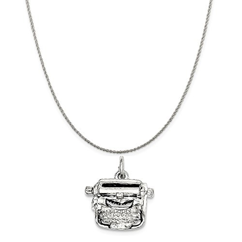 Mireval Sterling Silver Typewriter Charm on a Sterling Silver Rope Chain Necklace, 16