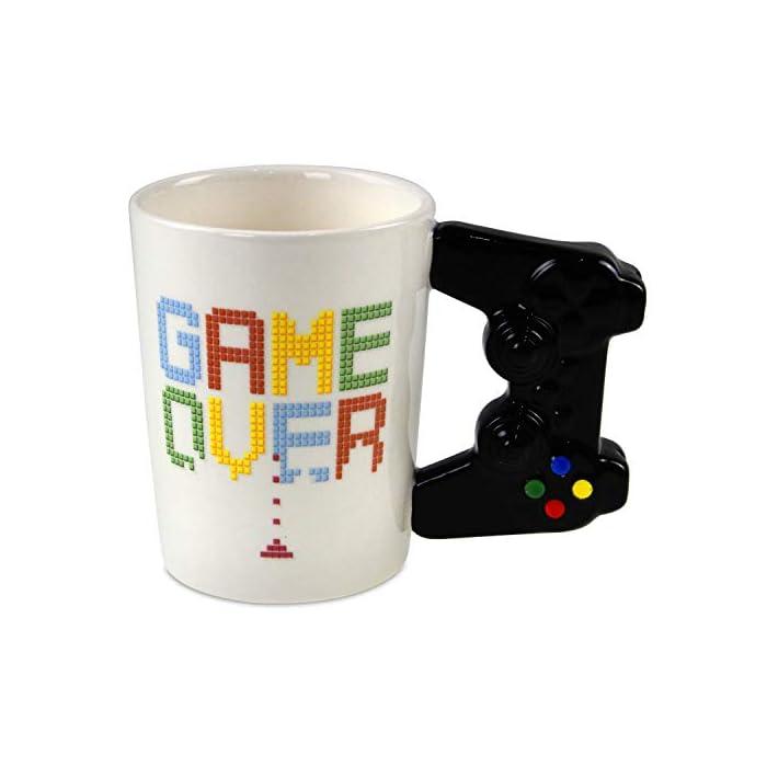41SSmdWmeRL Taza de Cerámica Diseño Original de controlador de consola Frase: Game Over
