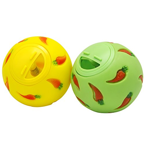 Niteangel Treat Ball, Snack Ball for Small Animals (Small, Yellow & Green)