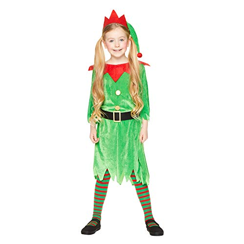Christmas Elf Girl Costume - Kids Holiday North Pole Santa Helper Cosplay, M]()