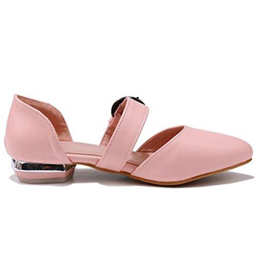 TAOFFEN Mujer Comodo Plano Sandalias Hebilla Cerrado Verano Colegio Zapatos Rosado