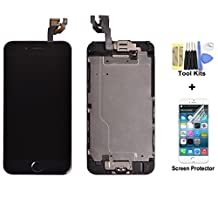 Touber LCD Display Touch Digitizer Screen Assembly Replacement for iPhone 6 4.7 Inch With Spare Parts Home Button, Flex Cable, Camera Bracket, Adhesive,Tools Black