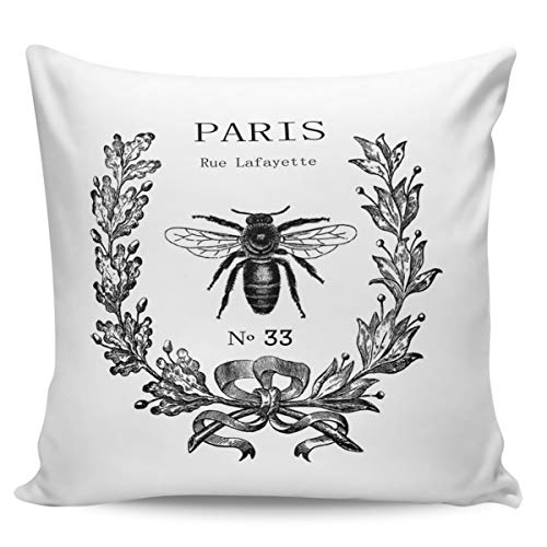 Liberkin Throw Pillow Cases Decorative Soft Square Polyester Pillowcases Pillow Cover Sham Cushion Case for Sofa, 20 x 20 Paris Rue Lafayette Bee Wreath ()