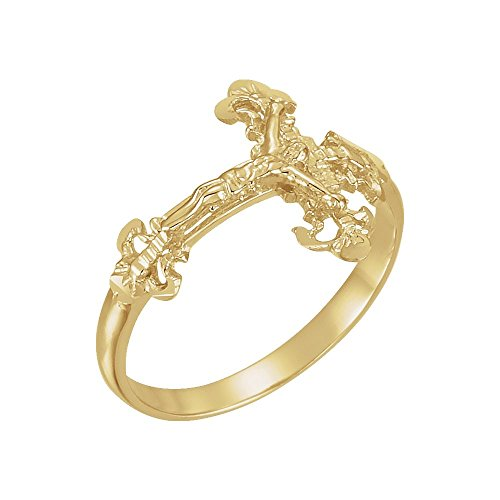 Ladies Crucifix Ring, 14kt Yellow gold, Ring Size 7 (Ring Gold 14kt Crucifix)