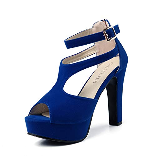 High Heel Dance Shoes - GATUXUS Women Platform Open Toe High Chunky Heel Pumps Dress Shoes Dance Sandals (7.5 B(M) US, Royal Blue)