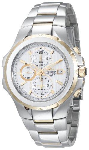 Seiko Men's SNAD54 Coutura Alarm Chronograph Two-Tone White Dial Watch