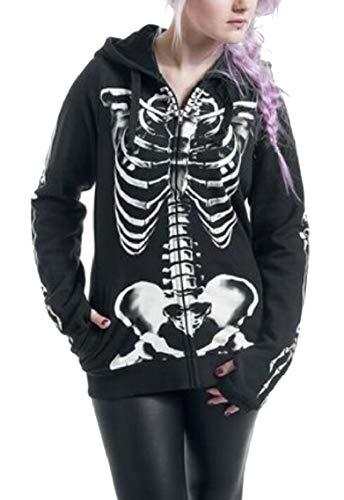 Jmwss QD Women's Skeleton Print Autumn Hooded Sweatshirts Full Zip Punk Hoodie Tops Black 3XL -