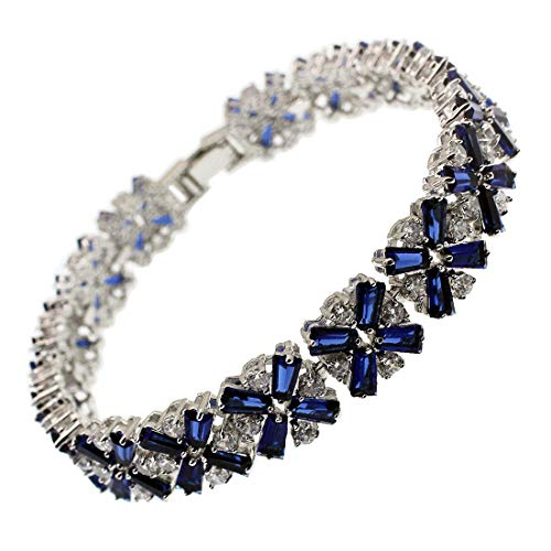 (White Gold Plated,Rose Gold Plated,Multicolor Cubic Zirconia Bracelet 7