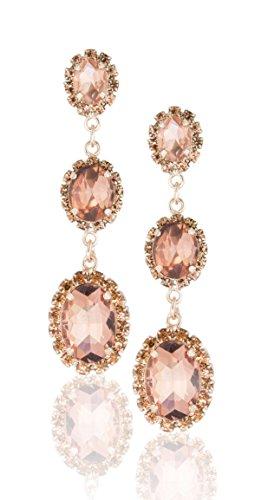 Zoe & Ella Light Peach Rhinestone Triple Oval Fashion Earrings ()