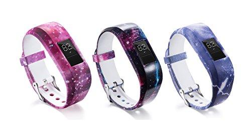 DingTool For Garmin Vivofit JR Bands, Silicone Colorful Replacement Band Kids Bands Strap Accessory for Garmin Vivofit JR/JR 2 Bracelet (3pcs-B)