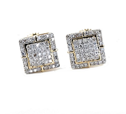 Mens Earrings Gold and Diamond Earrings 10K Screw on Backs 1/4ctw Stud Earrings for Guys 8mm Wide