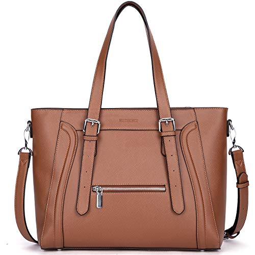 WESTBRONCO Laptop Bag for Women Briefcase Faux Leather 15.6 Inch Shoulder Bag Large Work Tote Bag