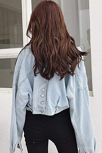 Anteriori Casual Accogliente Giaccone Breasted Jeans Cappotto Azzurro Donna Autunno Giacche Manica Elegante Lunga Bavero Corto Giovane Tasche Moda Single Di Women q1OZ1Sw