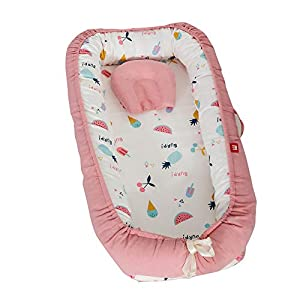Abreeze Baby Bassinet for Bed -Pink Fruit Family Baby Lounger – Breathable & Hypoallergenic Co-Sleeping Baby Bed – 100% Cotton Portable Crib for Bedroom/Travel