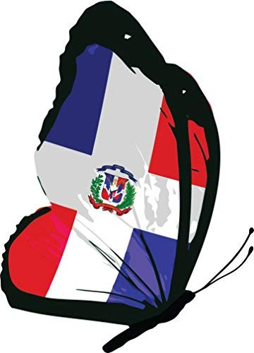 Yetta Quiller Dominican Republic Flag Butterfly Home Decal Vinyl Sticker 10 X 14 inches