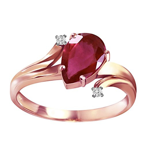 1.51 Carat 14k Solid Rose Gold Ring with Genuine Diamonds and Natural Pear-shaped Ruby - Size 8
