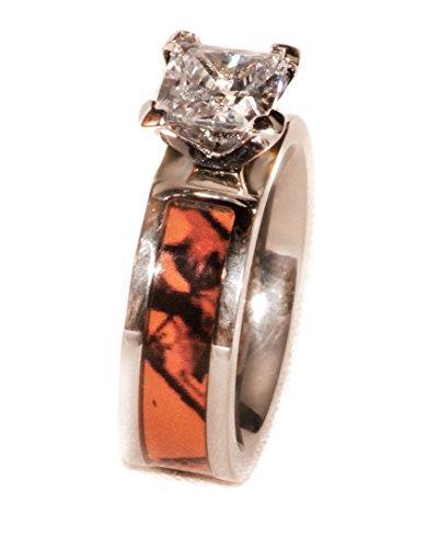 Orange Camo Rings - Southern Designs Orange Camouflage Engagement Wedding