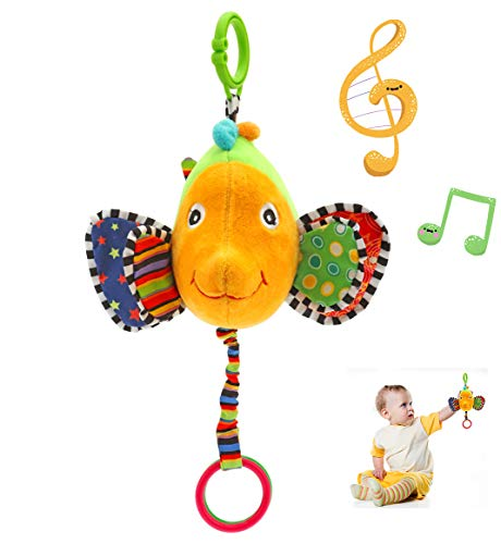 - eurofield Fish Infant Musical Plush Toy Pram Car Stroller Hanging Pull String Toy with Crinkle Paper,Mirror,Hook up and Ring (No Batteries Required) (Musical Style)