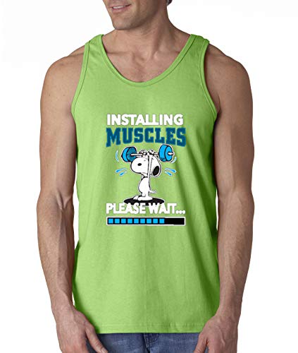 New Way 433 - Men's Tank-Top Installing Muscles Please Wait Snoopy Peanuts Workout Gym Small Lime ()