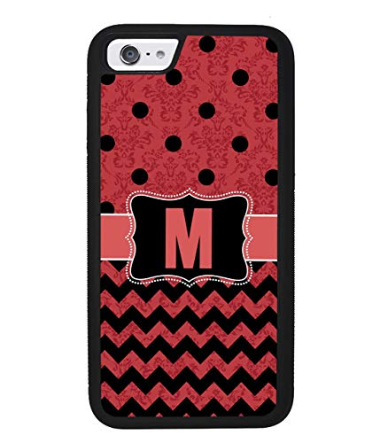Polka Dot Chevron Damask Red and Black Personalized Initial Apple iPhone Black Rubber Phone Case iPhone X iPhone XS Max iPhone XR iPhone 8 iPhone 7 iPhone 8 Plus iPhone 7 Plus iPhone 6 iPhone 6 Plus